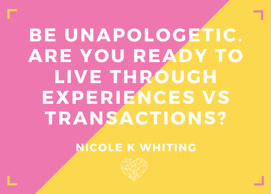 Life used to be one transaction after another. No more!